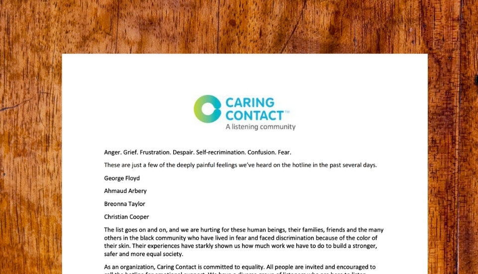 Caring Contact is committed to equality